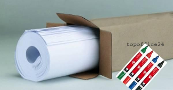 100 Blatt Flipchart-Papier + 4 Flipchart-Marker farbig sortiert