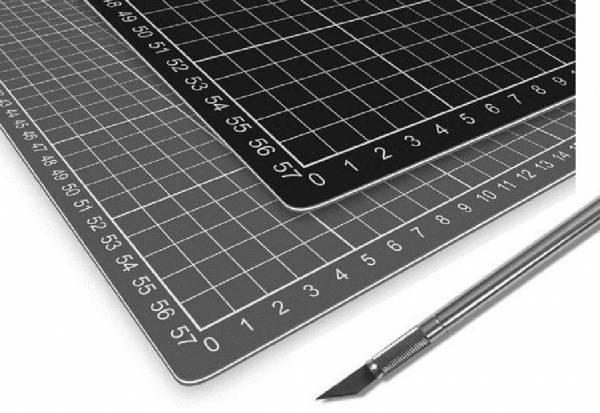 selbstheilende Schneidematte 60 x 90 cm A1 grau/schwarz mit Raster