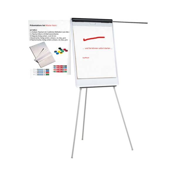 Flipchart Master - Dreibeiniges Flip Chart mit Bildhaltern & Starterausstattung