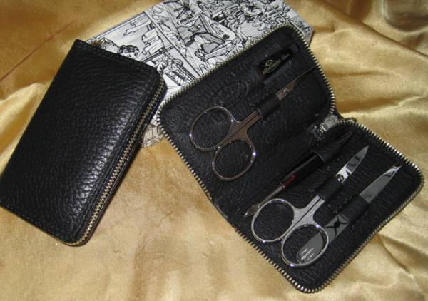 F. Hammann Damen Nageletui Maniküre-Set aus schwarzem Leder mit Reißverschluss Solingen