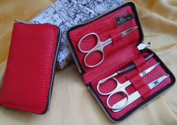 F. Hammann Damen Nageletui Maniküre-Set aus rotem Leder mit Reißverschluss - Solingen