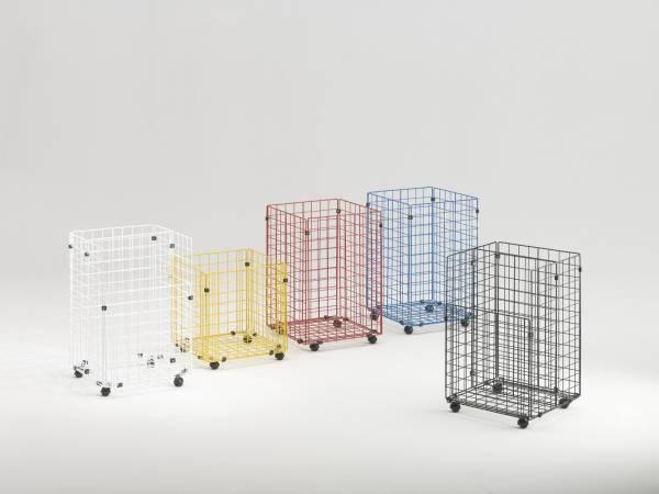 Gitterbox mit Rollen 43 x 42 x 66 cm in weiß zur Aufbewahrung von Plänen, Papierrollen