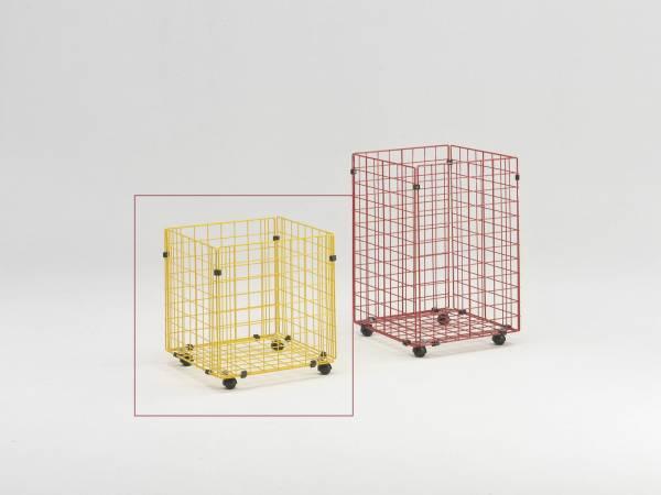 Gitterbox mit Rollen 43 x 42 x 46 cm in schwarz zur Aufbewahrung von Plänen, Papierrollen