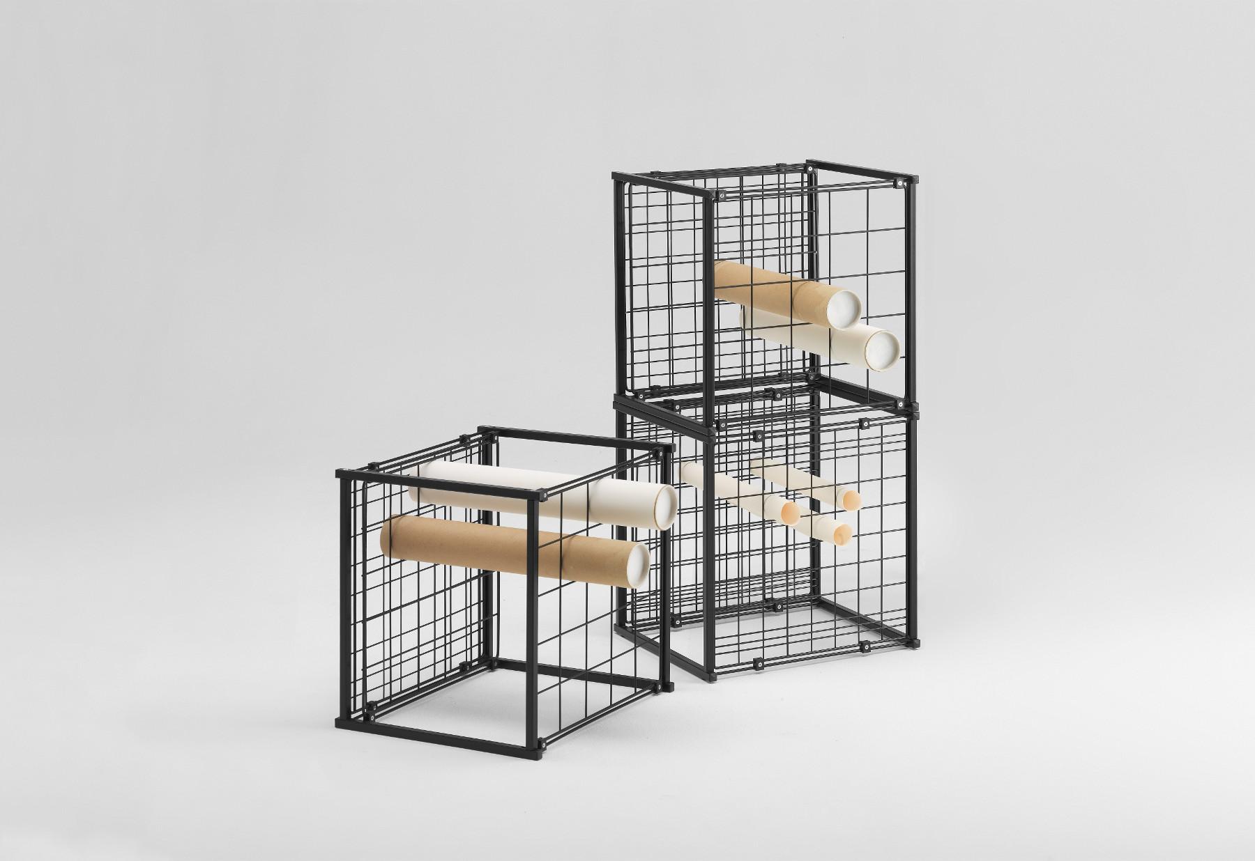stapelbare gitterbox zur aufbewahrung f r papierrollen pl nen mit 90 mm wei. Black Bedroom Furniture Sets. Home Design Ideas